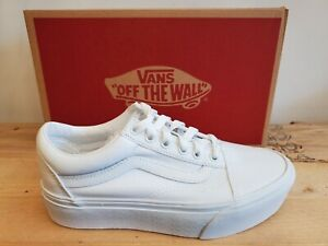 Vans Classic Old Skool Platform All White Skateboarding Lifestyle Shoes Women