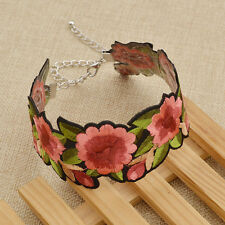 Vintage Flower Embroidered Choker Charm Wide Collar Necklace Jewelry New Women