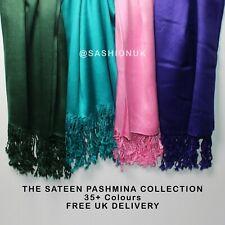 Satén de seda de Satén Pashmina Bufanda Chal Envolvente Brillo Fiesta Noche Hijab 35 Colores