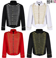 Men's Emo Punk Goth Officer Military Drummer Parade Marching Band Jacket