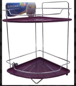 2 Tier Corner Purple plastic chrome Bathroom Organiser Shower Rack Storage