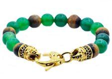 NWT BLACKJACK Tiger Eye Green Agate Gold Stainless Steel Beaded Bracelet $119.99