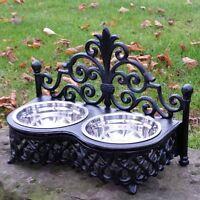 Dog Cat Pet Bowl Black Ornate Feeding Dish Metal Princess Shabby Two Bowls Chic