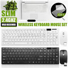Slim 2.4GHz Wireless Keyboard and Mouse Set Full-Size USB PC Laptop Computer
