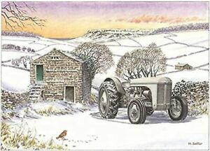 Nice View Fergie Tractor Countryside Scene Open Happy Christmas Card