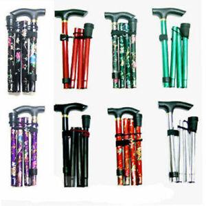 Walking Stick Easy Adjustable Folding Cane Flower , Plain Design UK Seller