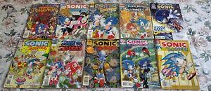Sonic the Hedgehog Archie Comics, Comic Book Lot of 10