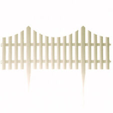 4pc White Plastic With Wooden Effect Picket Fencing Lawn Garden Edge Border Set