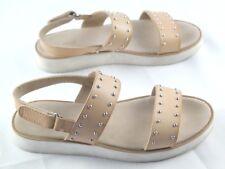 Zara Girls Sandals Size Eu 35 Tan Studded Open Toe Slingback Shoes