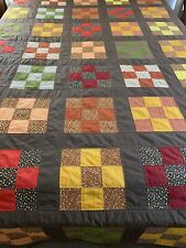 """OMG! VINTAGE Handmade HAND QUILTED  Nine Patch QUILT 99"""" x 82"""" Queen #385"""