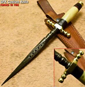 SFK Custom Handmade Damascus Steel Camel Bone Hunting Stiletto Dagger Knife