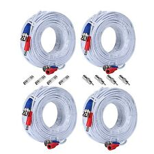 SANNCE 4x 100ft 30M BNC Video Power Cables Wires for Home Security Camera System