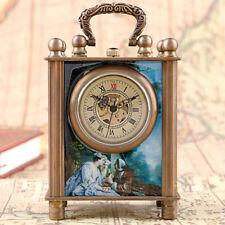 European Style Antique Painted Hand Winding Mechanical Desk Clocks Gift Box