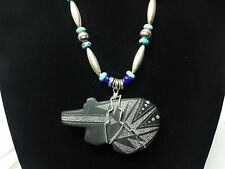 """Vintage sterling silver Zunii necklace approx. 28"""" long with stone Bear"""