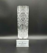 """Waterford GIFTWARE 12"""" Cylindrical Flower Vase Criss Cross Cut EXCELLENT"""