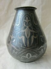 Antique Islamic  Indo-Persian , iron  with silver koftgari  vase