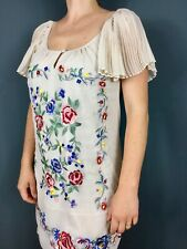 Monsoon Beige Semi-sheer Embroidered Flower Knee Shift Dress 10 12 Party Gatsby