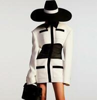 2020 Womens Designer Inspired  Pleated Waist Golden Lion Button Blazer  Dress