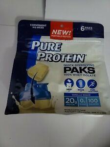 Pure Protein Quick Dissolving Paks 100% Whey Isolate Vanilla Shake 20g Protein