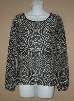 Womens Size XS Long Sleeve Black Ivory Patterned Casual Fall Blouse Top Shirt