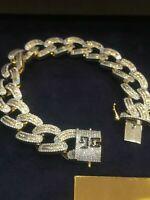7,64 Cts Runde Baguette Cut Diamanten Herren Cuban Link Armband In 585 14K Gold
