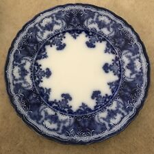 """FLOW BLUE DAINTY 8"""" PLATE BY MADDOCK & SONS IN NEAR MINT CONDITION"""