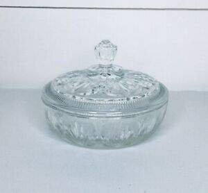 Avon Glass Candy Dish Embossed Design Clear With Lid