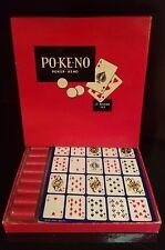 Vintage PO-KE-NO Poker Keno Game 12 Board Set Red Counters U.S. Playing Card Co.