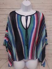 Bebe Multicolor Striped Poncho Batwing Size L EUC