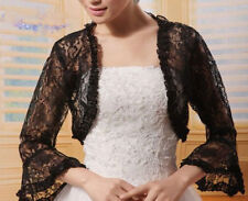 5b1fa1cfec2b Bridal Floral Lace Bolero Jacket Shrug Shawl Wrap Cape Wedding Dress Ruffle  Blk
