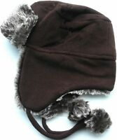 NEW Ladies Fleece Trapper Hat With Fur And Pom Poms (HAI-729) BROWN 58CM