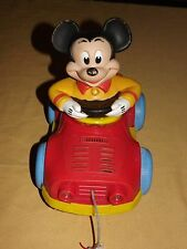 "VINTAGE 10"" LONG 1973 KOHNER WALT DISNEY MICKEY MOUSE PULL TOY"