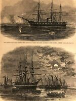 Union Navy U.S.S. Pensacola Burnside's Troop Transports 1862 Civil War era print