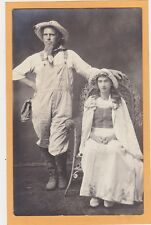 Studio Real Photo Postcard RPPC - Farmer in Overalls and Woman in Rattan Chair