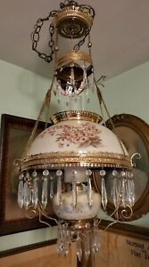 ANTIQUE VICTORIAN BRADLEY & HUBBARD HANGING PARLOR OIL LAMP
