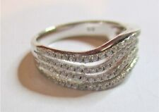 STERLING SILVER SPARKLING CUBIC ZIRCONIA WAVE RING SIZE  N