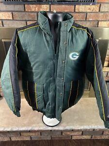 Vintage Green Bay Packers Hooded Puffy NFL Football Jacket Mens Size Medium EUC