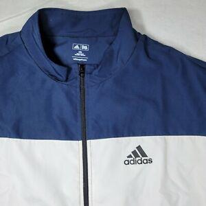 Adidas Mens Windbreaker Track Golf jacket  Blue White Long Sleeve Size 4XL New