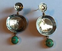 Vintage silver, gold & turquoise handmade pierced earrings, Arts & Crafts style