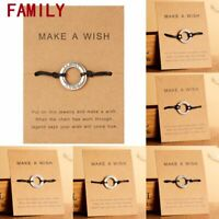 Handmade Family Best Friends Rope Bracelet Bangle Friendship Card Jewelry Gift