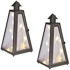 2x Laterne mit Holografie-Folie (Sterneneffekt) mit 12 warm-weißen LEDs Lantern