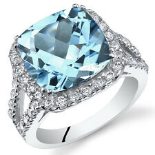 6.25Ct Genuine Swiss Blue Topaz Sterling Silver Ring Sizes 5 to 9 SR11088