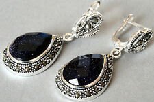 Faceted Shiny Blue Drop goldstone Marcasite 925 Sterling Silver Dangle Earring