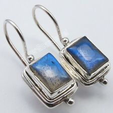 "Wire Earrings 1"" Made In India 925 Sterling Silver Blue Fire Labradorite Fix"