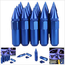 20 BLUE SPIKED ALUMINUM EXTENDED 60MM LUG NUTS WHEELS / RIMS M12X1.5 RACING