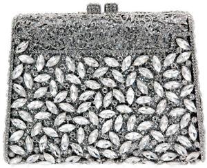 XL Evening luxury crystal clutch purse  rhinestone handbag  Silver US Seller