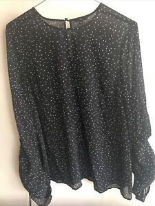 Cue Black Star Spotted Blouse Size 12