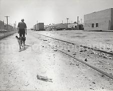 A Man + His Dog RAILROAD TRACKS 8 x 10 FOUND PHOTO bw FREE SHIPPING H 50