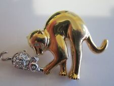 Vintage Gold tone Kitty Cat & Cristal Rhinestone Mouse Brooch Pin