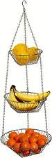 3-Tier Wire Hanging Basket Fruit Holder Vegetable Rack Kitchen Storage